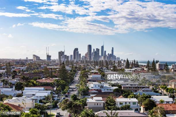 gold coast skyline from the south with typical local residential suburbs in the foreground. - gold coast ストックフォトと画像