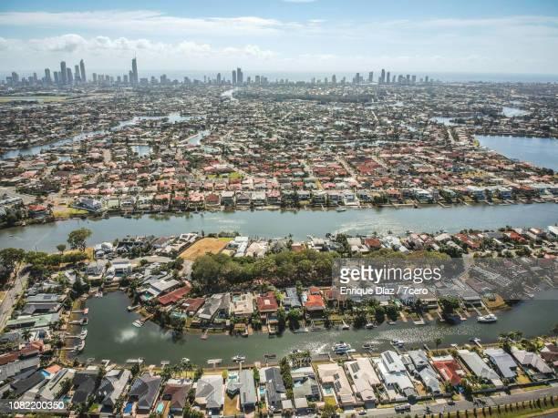 gold coast suburban drone view - gold coast fotografías e imágenes de stock