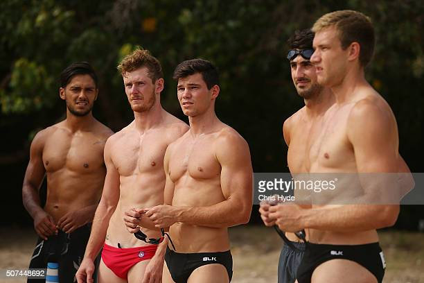 Gold Coast Suns during an AFL beach training session at Palm Beach on January 30 2016 in Gold Coast Australia