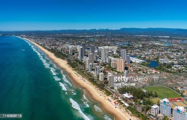 gold coast surfers paradise qld australia aerial photos - イングランド サウスポート ストックフォトと画像