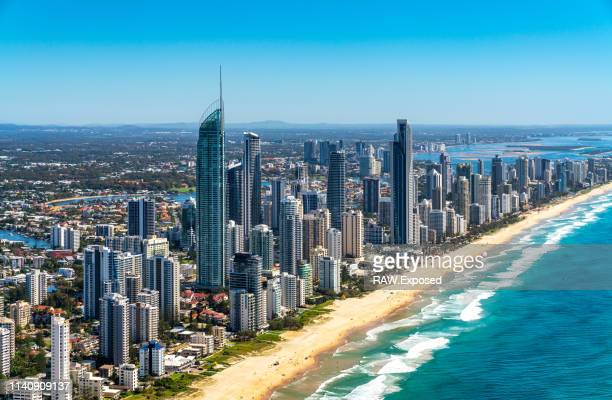 gold coast surfers paradise qld australia aerial photos - brisbane stock pictures, royalty-free photos & images