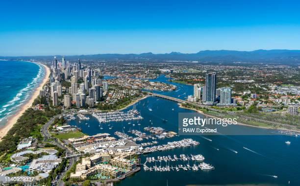 gold coast surfers paradise qld australia aerial photos - クイーンズランド州ゴールドコースト ストックフォトと画像
