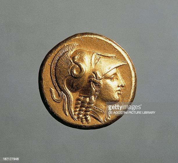 Gold coin bearing the image of Alexander the Great recto Greek coins 4th century BC Cambridge Fitzwilliam Museum
