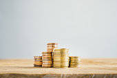 gold coin stack table save money