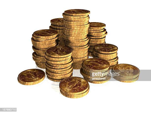 Goldene Münze Stacks (3D