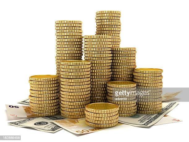 Goldene Münzen und Bar