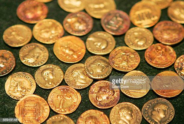 Gold coins are part of a traveling exhibit of Pompeii at the Field Museum October 18 2005 in Chicago Illinois The exhibit mounted in Italy features...