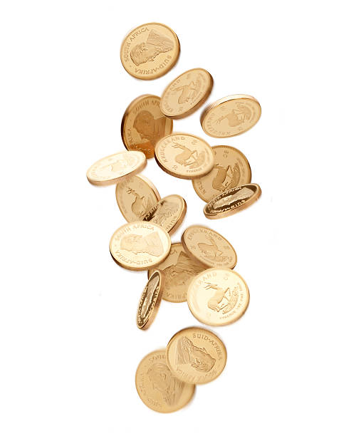 Gold Coins Falling From Above Wall Art