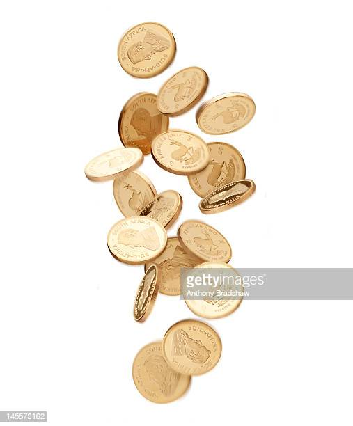 Gold coins falling from above