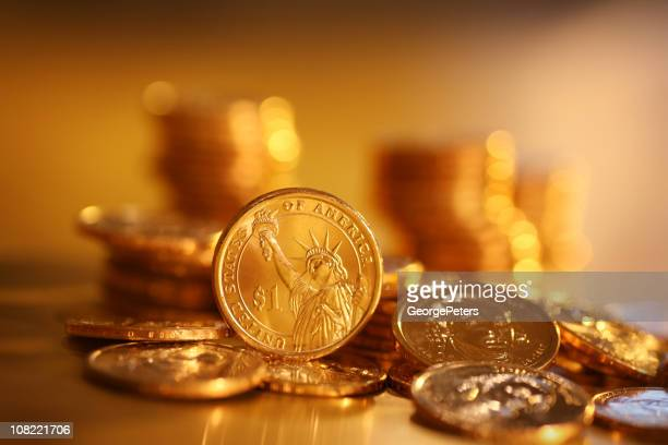 Gold Coins on Background