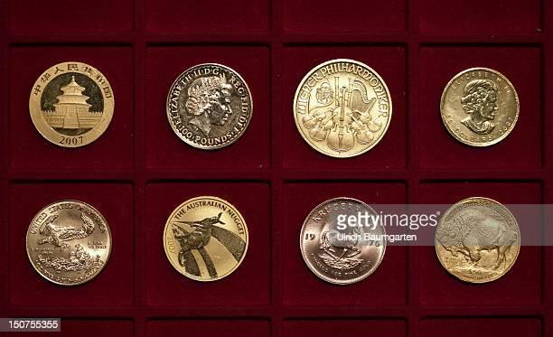 Gold coins, Oour picture shows from left: China - Panda, Britannia - Grossbritannien, Wiener Philharmoniker - Oesterreich, Maple Leaf - Kanada,...