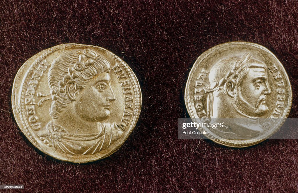 Gold coins showing heads of Roman Emperors Constantine the Great and Diocletian, 4th century. : News Photo