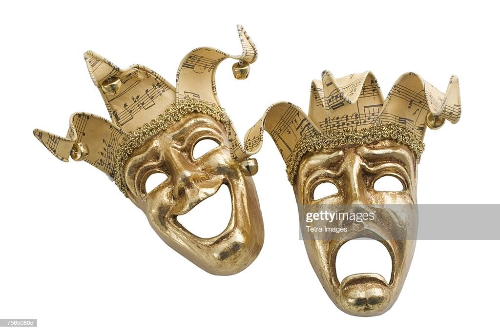 Gold comedy and tragedy masks : Stock Photo