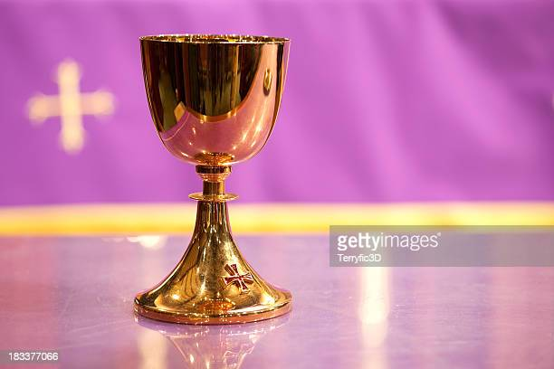 Gold Communion Chalice and Purple Background with Cross