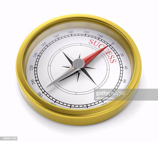 gold compass pointing to succes