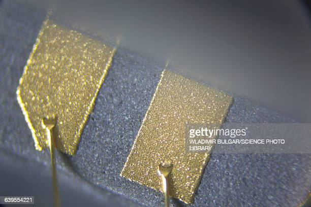 Gold contacts of a microchip