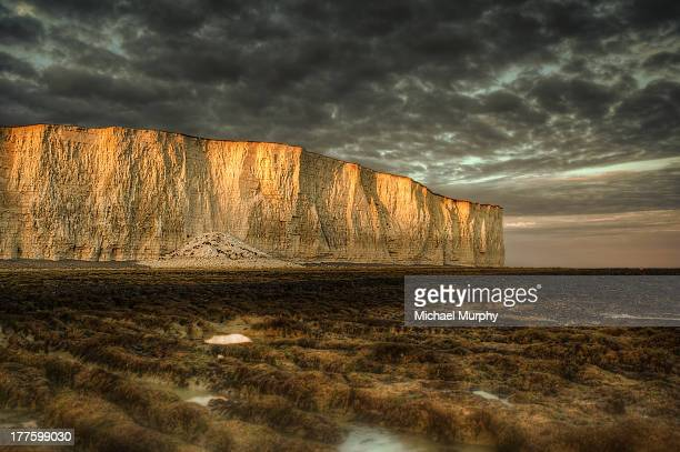 gold crested cliffs - beachy head stock photos and pictures