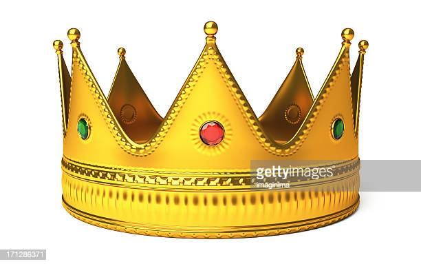 gold crown isolated on white - koning koninklijk persoon stockfoto's en -beelden