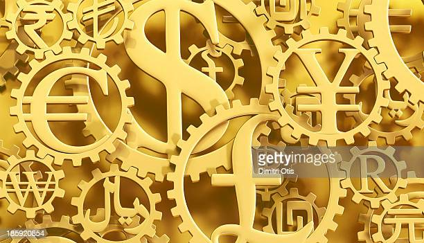 Gold currency symbol cogs horizontal