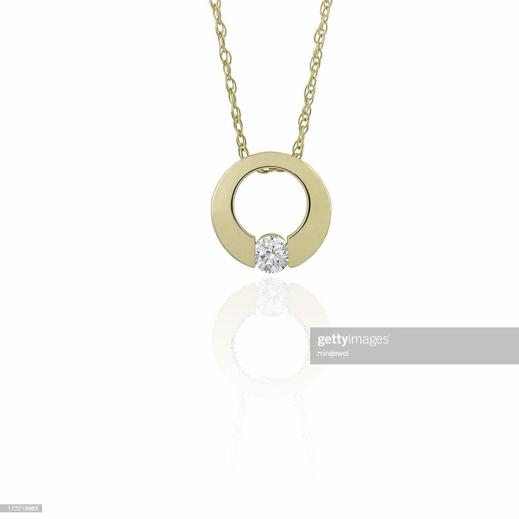 Gold & Diamond Pendant : Stock Photo