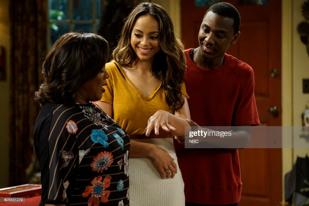 SHOW -- 'Gold Diggers' Episode 313 -- Pictured: (l-r) Loretta Devine as Cynthia Carmichael, Amber Stevens West as Maxine North-Carmichael, Jerrod Carmichael as Jerrod Carmichael --