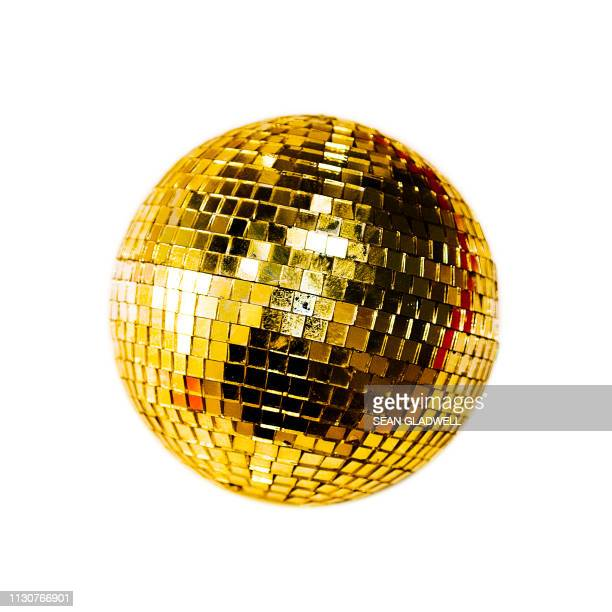 gold disco mirror ball - disco ball stock photos and pictures