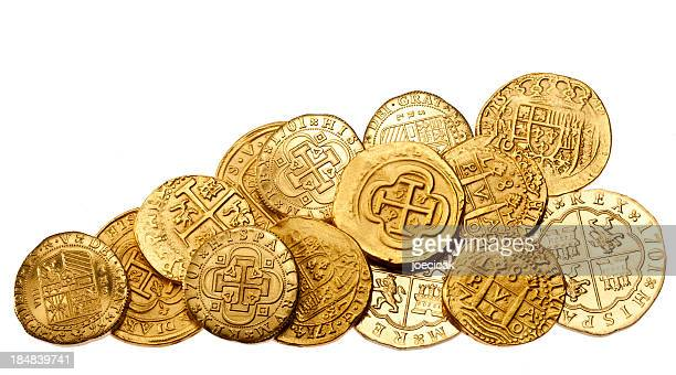 Gold Doubloons on White Background