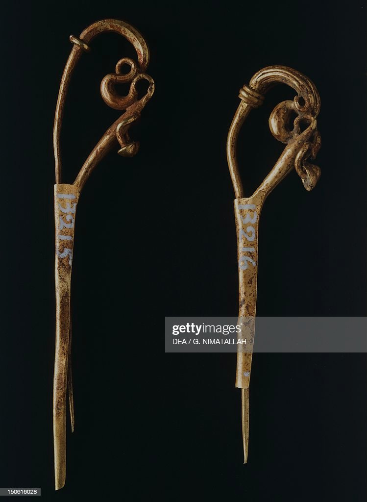 Gold dragon head fibula from Praeneste : News Photo