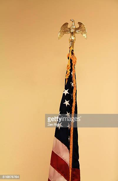 gold eagle finial on american flag - フリンジ ストックフォトと画像