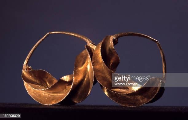 Gold earrings worn by pastoral Fulani women Mali Fulani