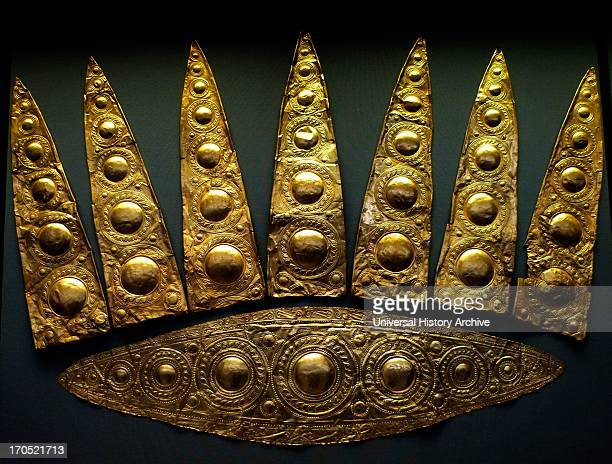 Gold elliptical funeral diadem from Shaft Grave III Grave of the Women Grave Circle A Mycenae 16001500 BCNational Archaeological Museum Athens Once...