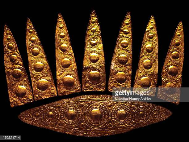 Gold elliptical funeral diadem from Shaft Grave III Grave of the Women Grave Circle A Mycenae 16001500 BC National Archaeological Museum Athens Once...
