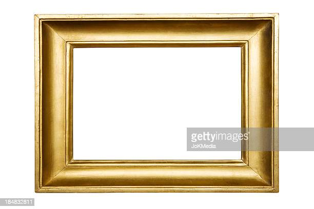 Gold empty picture frame on white background