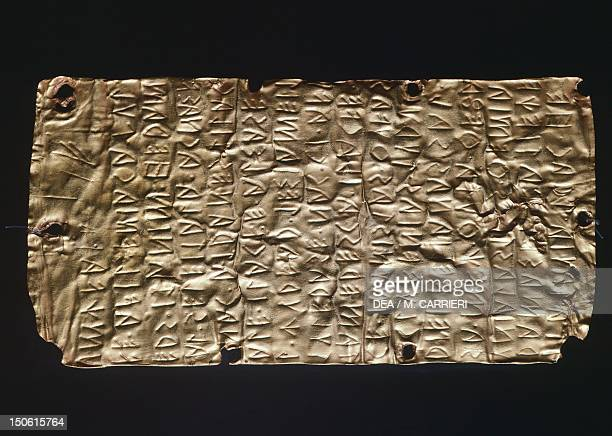 Gold Foil from Pyrgi Etruscan civilization 5th Century BC