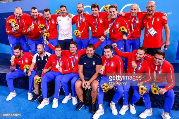 Gold for Serbia with Gojko Pijetlovic of Serbia, Dusan Mandic of Serbia, Nikola Dedovic of Serbia, Sava Randjelovic of Serbia, Strahinja Rasovic of...