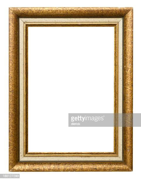 A gold frame and a black background