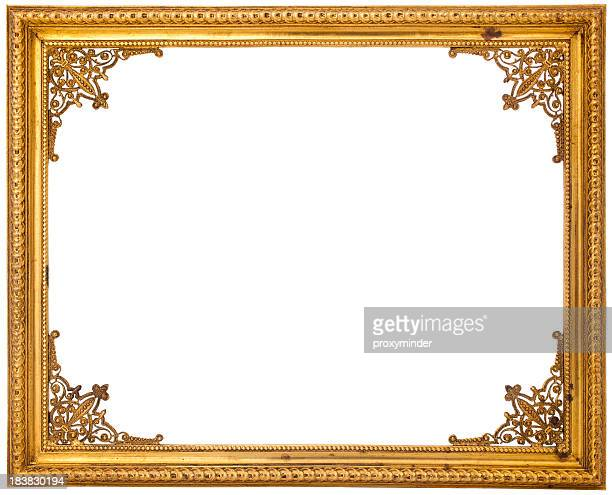 gold frame isolated on white - gilded stock pictures, royalty-free photos & images