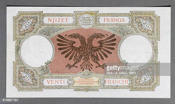 20 gold francs banknote reverse twoheaded eagle 19x105 cm Albania occupied by Italy 20th century