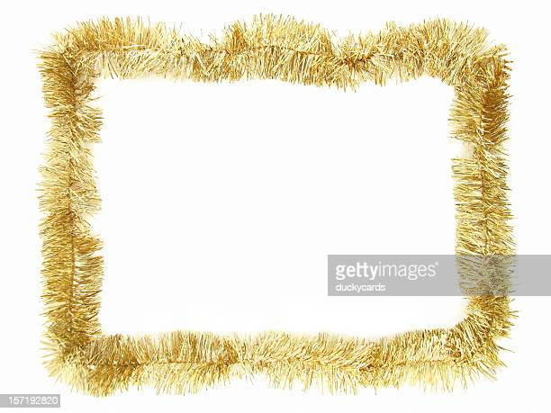 gold garland border - tinsel stock pictures, royalty-free photos & images