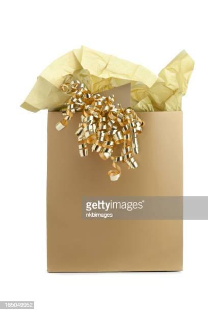 Gold gift bag mit Seidenpapier und gewelltes Band