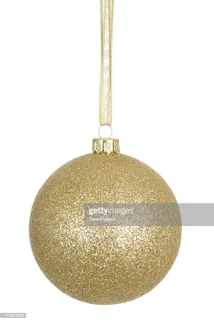 Gold Glitter Bauble (XL) : Stock Photo
