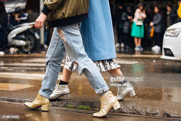 Gold glitter booties spotted at the Dolce Gabbana show at Metropol during Milan Fashion Week Fall/Winter 2016/17 on February 28 2016 in Milan Italy