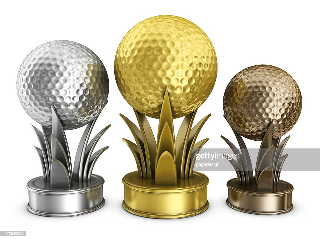 gold golf podium awards : Stock Photo