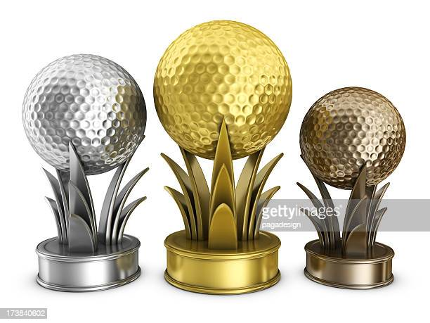 gold golf podium awards - bronze medalist stock pictures, royalty-free photos & images