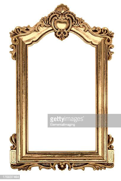 gold gothic picture frame. isolated on white with clipping path - gilded stock pictures, royalty-free photos & images