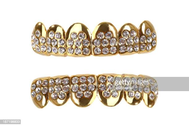 gold grill - bling bling stock pictures, royalty-free photos & images