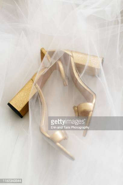 gold high heels laying underneath a wedding veil - gold shoe stock pictures, royalty-free photos & images