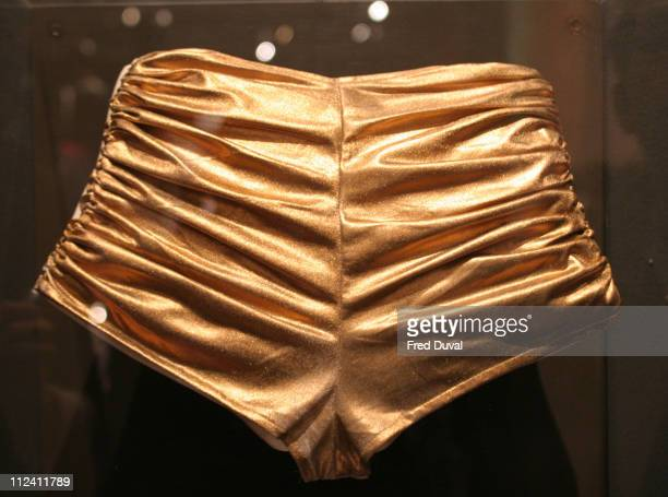 """Gold hotpants worn by Kylie Minogue in the """"Spinning Around"""" Video at """"Kylie - The Exhibition""""."""
