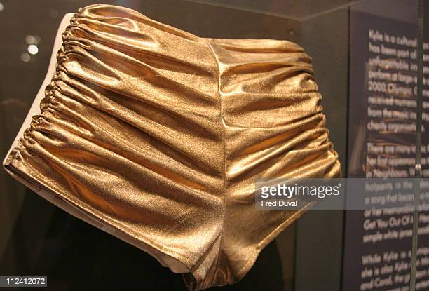 "Gold hotpants worn by Kylie Minogue in the ""Spinning Around"" Video at ""Kylie - The Exhibition""."