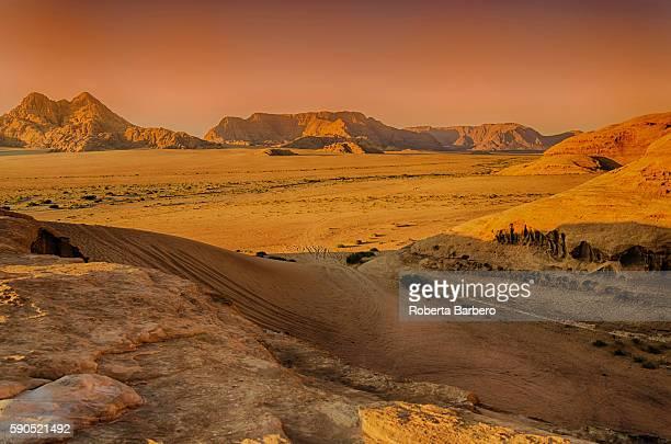 Gold hour in the desert of Wadi Rum